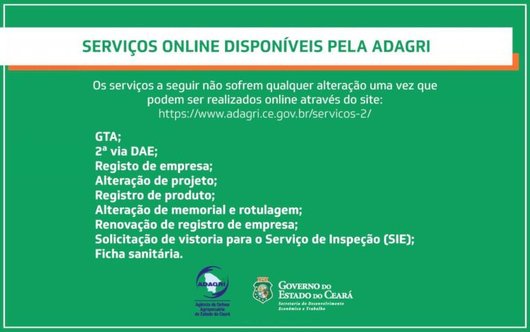 Adagri disponibiliza Serviços Online